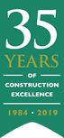 Ribbon depicting 35 years of contruction excellence by Spetisbury Construction